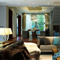 镇江馨海家园独栋室内设计中式客厅餐厅隔断装修效果图