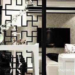优雅中式休闲风客厅隔断装饰柜装修效果图