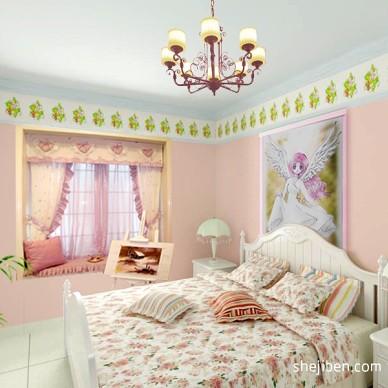 美式风格女孩温馨卧室效果图