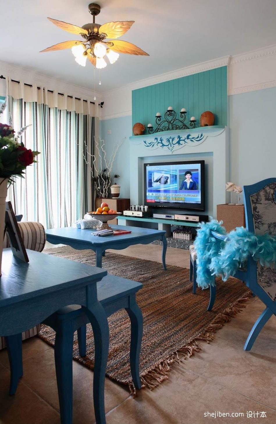 室内装修卧室背景墙_小户型地中海风格客厅电视背景墙装修效果图 – 设计本装修效果图