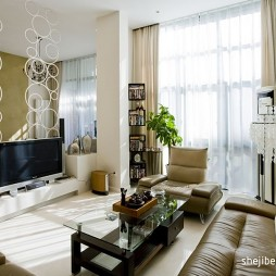 加州印象家装复式楼简装客厅最新款电视柜隔断墙设计