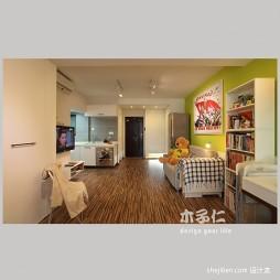 绿意生活现代卧室客厅一体化装修效果图