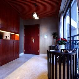 东莞皇家公馆样板房中式休闲区实木家具装修效果图