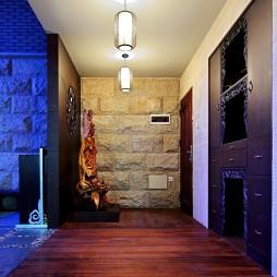 集信名城样板房中式家装过道实木地板装修效果图