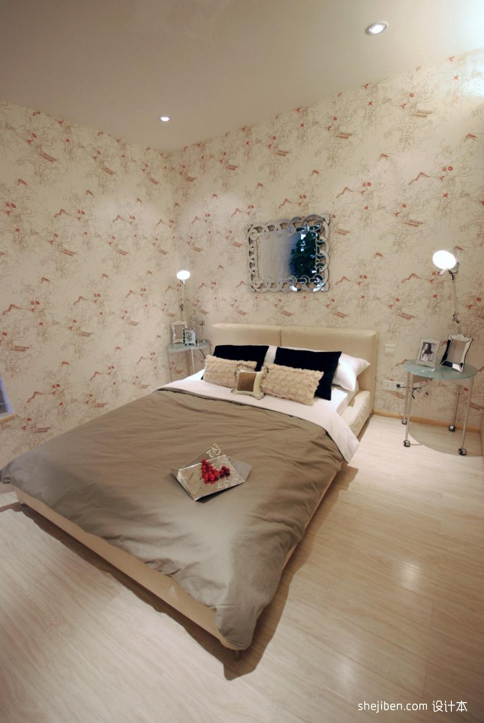 室内装修卧室背景墙_现代风格简单少女卧室花纹壁纸床头背景墙装修效果图片 – 设计 ...