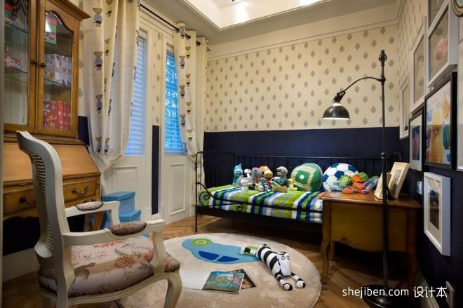 欧式风格样板间男孩儿童房书柜花纹壁纸