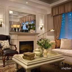 经典简欧小客厅背景墙装修效果图