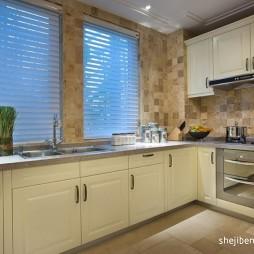 欧式风格开放式L型小面积家居厨房米黄色橱柜装修效果图