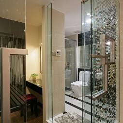 逸雅空间现代卫生间隔断玻璃门装修效果图