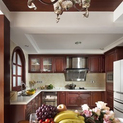 美式风格开放式L型小面积家居厨房棕色橱柜餐厅装修效果图