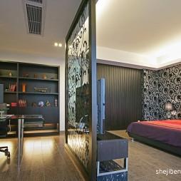 逸雅空间现代卧室镂空隔断书房装修效果图