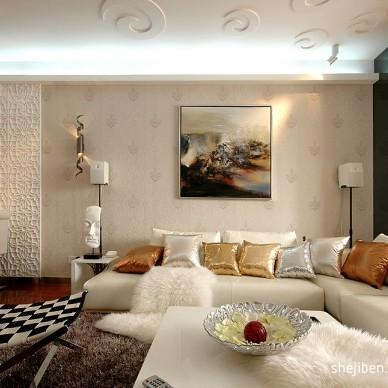 浪漫和艺术的相遇现代客厅艺术天花板装修效果图