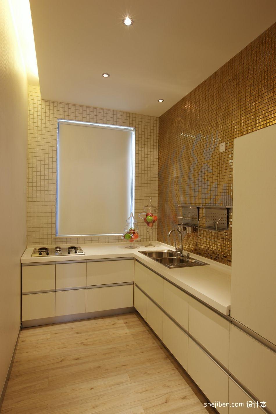 热门资讯_现代风格L型小面积家居厨房金黄色瓷砖墙壁装修效果图片 – ...
