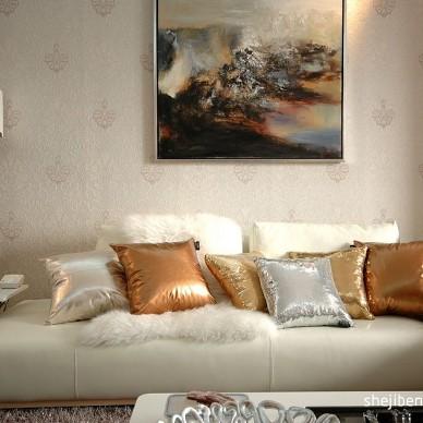 浪漫和艺术的相遇客厅艺术手绘挂画装修效果图