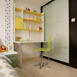 现代儿童房书房一体化装修效果图