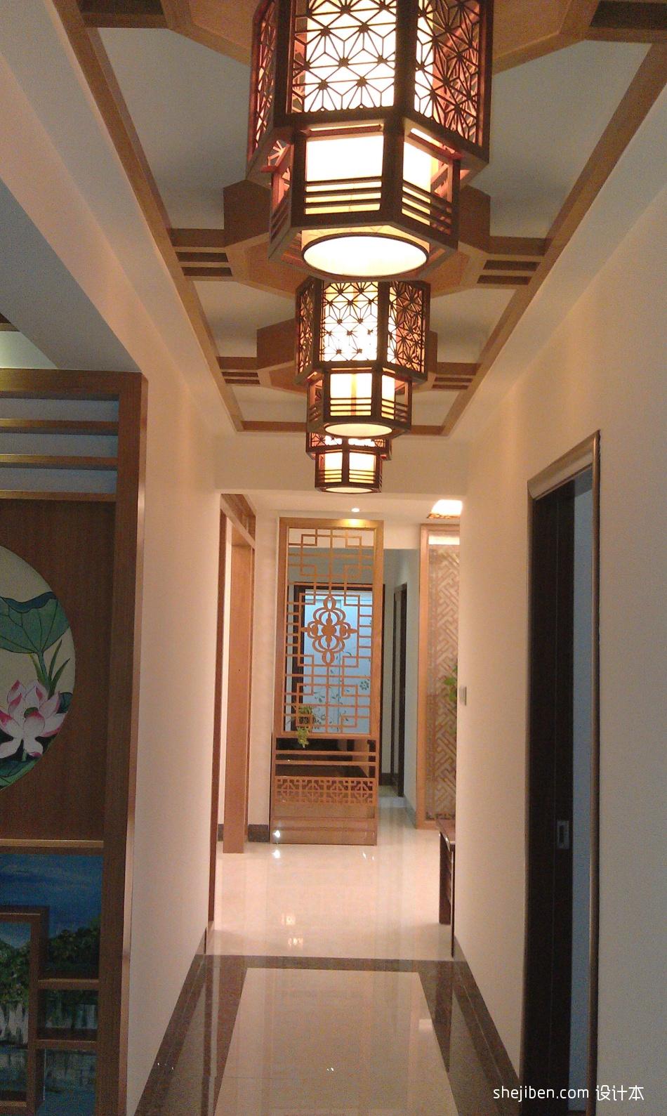 客厅阳台玄关效果图_中式家装过道吊顶吊灯装修效果图 – 设计本装修效果图