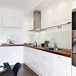 现代风格开放式L型4平米小面积家居厨房白色橱柜餐厅效果图片
