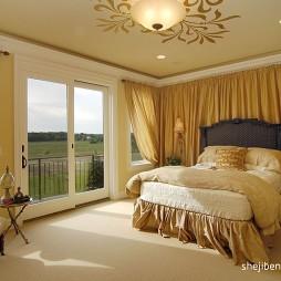 新古典卧室落地门窗窗帘装修效果图