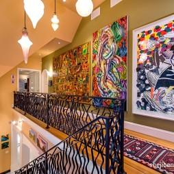 别墅设计走廊过道手绘挂画装修效果图