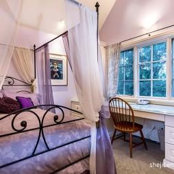 别墅设计卧室飘窗窗帘装修效果图
