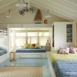 2017现代风格最新创意儿童房实木吊顶上下床设计装修效果图片