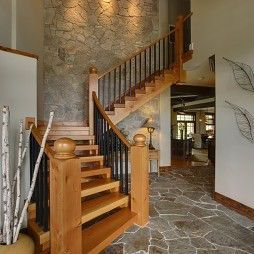 2017混搭风格二居室室内实木楼梯护栏灯效果装修效果图