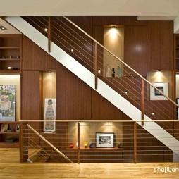 2017现代风格别墅室内高档不锈钢楼梯护栏装修效果图