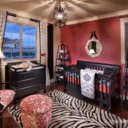2017美式风格别墅儿童房窗户窗帘装修效果图片