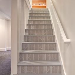 2017现代风格别墅家装室内木质楼梯护栏装修效果图