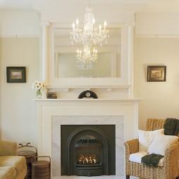 欧式客厅壁炉吊灯装修效果图