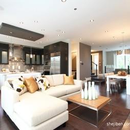简约现代别墅设计客厅实木地板装修效果图