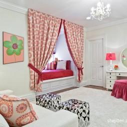 2017现代风格别墅最新时尚女孩儿童房榻榻米床装修效果图片