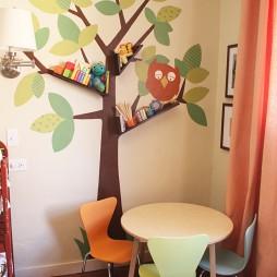 2017现代风格创意儿童书房手绘背景墙效果图片