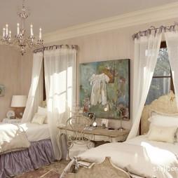 现代风格别墅双人儿童房布艺背景装修效果图片