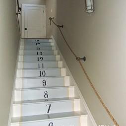 2017现代风格别墅室内精品木质楼梯护栏装修效果图