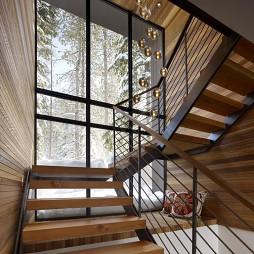 2017现代风格二居室室内钢木结构楼梯护栏装修效果图