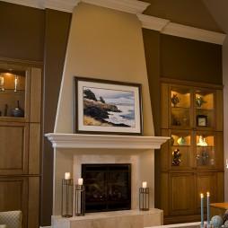 欧式壁炉挂画背景墙装修效果图