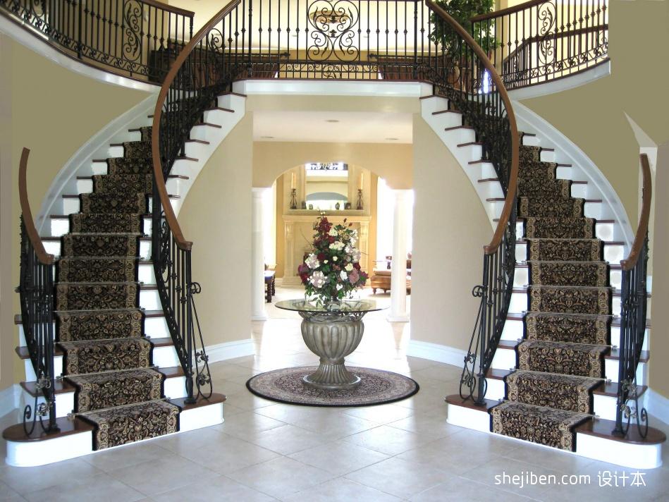 2013欧式风格别墅豪华u型铁艺楼梯护栏装修效果图 设计本装修效果图