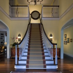 2017欧式风格别墅室内豪华实木楼梯护栏装修效果图