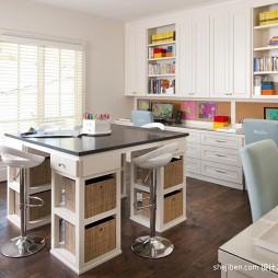现代风格简易多功能书房组合书柜书桌装修效果图