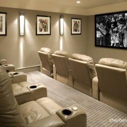 现代视听室挂画背景墙装修效果图