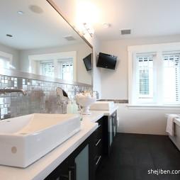 简约现代别墅设计洗手台带浴缸装修效果图