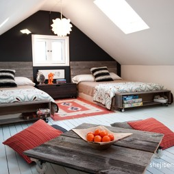 现代风格阁楼经典双人儿童房斜顶设计装修效果图片