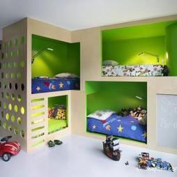 2017现代风格最新创意儿童房双层床绿色墙面装修效果图片