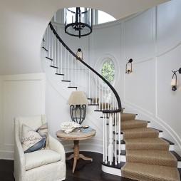 2017欧式风格别墅家用旋转实木楼梯护栏装修效果图