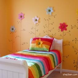 2017现代风格小户型宜家实用女孩儿童房手绘墙图案装修效果图片