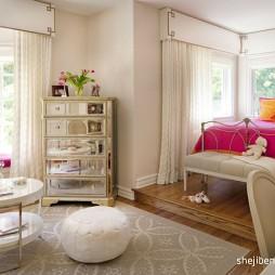 现代风格别墅经典时尚女孩儿童房窗台窗户窗帘装修效果图片