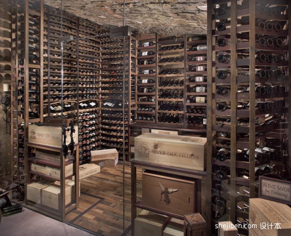 美式风格小户型地下私人酒窖设计效果图
