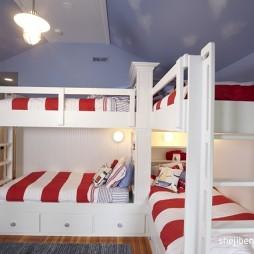 2017现代风格阁楼儿童房斜顶上下铺装修效果图片