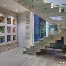 2017混搭风格精品二居室玻璃楼梯护栏装修效果图